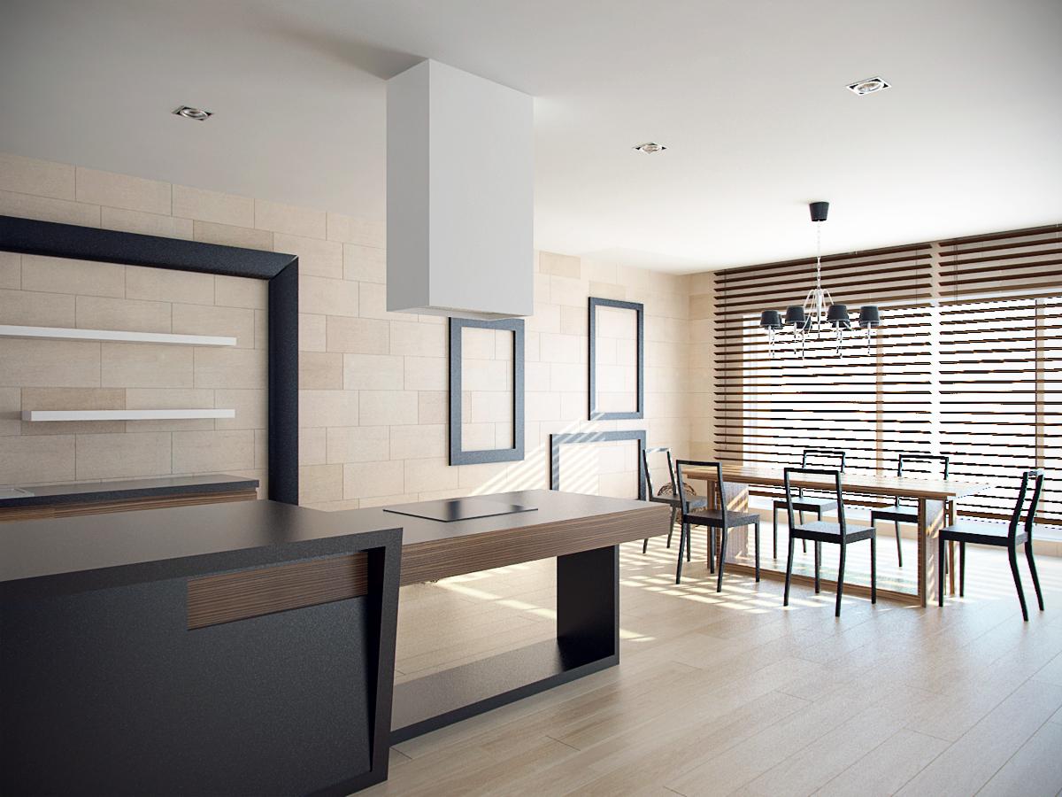 kuchnia i jadalnia projekt wnetrza luksusowego warszawa architekt