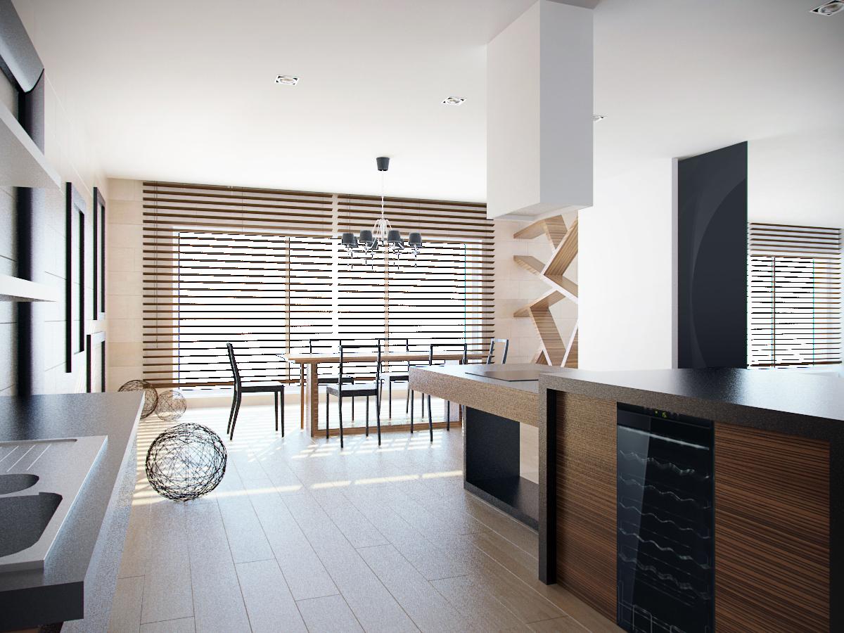 jadalnia polaczona z kuchnia projekt wnetrza architekt
